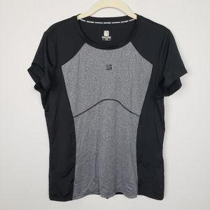 Running shirt quick dry black gray 2XL